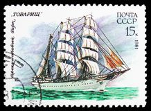 Three-masted barque Comrade , Cadet Sailing Fleet of the USSR serie, circa 1981. MOSCOW, RUSSIA - OCTOBER 21, 2018: A stamp printed in USSR (Russia) shows Three royalty free stock photography