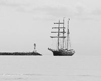 Three masted in black and white Stock Image