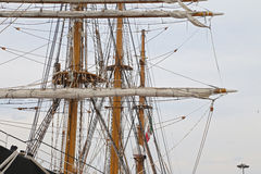 The three masted Palinuro, a historic Italian Navy training barquentine, moored in the Gaeta port. Royalty Free Stock Image
