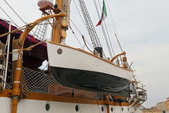 The three masted Palinuro, a historic Italian Navy training barquentine, moored in the Gaeta port. Stock Photo