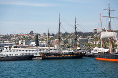 Three Masted Sailboats in San Diego Stock Image
