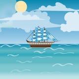 Three masted sailing ship frigate transport Royalty Free Stock Image