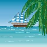 Three masted sailing ship frigate transport. Stock Images