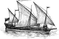 Three-masted sailing ship Stock Photography