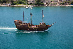 Three Masted Schooner in Blue Water Royalty Free Stock Image