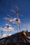 Three-masted ship. Three-masted sailing ship at close-up Royalty Free Stock Photo