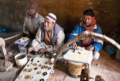 Three masters of cutting marble in Agra Stock Photography