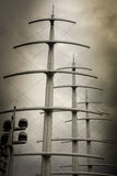 Three masts and radar on Sepia Stock Images