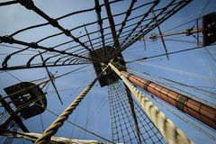 Three masts on tall ship Royalty Free Stock Images