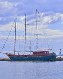 Three masts wooden ship Royalty Free Stock Photo