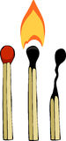 Three matches. On a white background, vector Royalty Free Stock Images