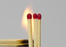 Three matches with red heads Royalty Free Stock Photo