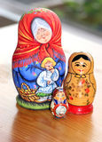 Three matrioshkas. Russian dolls-matrioshka Royalty Free Stock Images