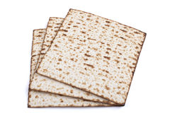 Three Matzot. Jewish traditional Pesach textured Matza bread substitute isolated on white background Stock Photography