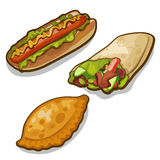 Three meals of fast food on white background stock illustration