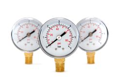 Three measuring devices on a white Stock Image