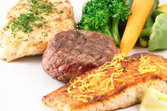 Three meat feast. Gourmet grilled meats feast  this is a muscle builder meal Stock Photo