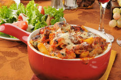 Three meat pasta bake Stock Photos