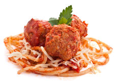 Three Meatballs with Spaghetti Royalty Free Stock Photo