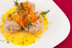 Three Meatballs on a white plate Royalty Free Stock Image