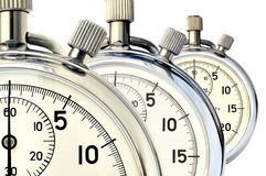 Three mechanical stopwatch. Three old mechanical stopwatch against white background Stock Image