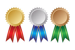 Three medals. Three award ribbons. Gold, silver and bronze. Vector illustration Royalty Free Stock Photos