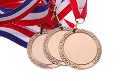 Three Medals. With red, white & blue ribbons Stock Photography