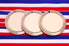 Three Medals #2. Three Medals on Red, White & Blue Ribbon stock images