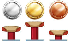 Three medals for balance beam Stock Images