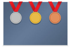 Three Medals On Blank Card Stock Images
