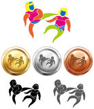 Three medals design for taekwondo Royalty Free Stock Photography