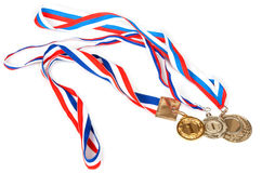 Three medals for first place with tape Stock Image