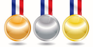 Three medals  - gold, silver, bronze Stock Photography