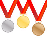Three medals. Gold, Silver and bronze for the winners - vector Stock Image