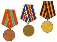 Three medals isolated on white stock photos