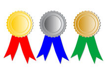Three medals with ribbons Royalty Free Stock Image