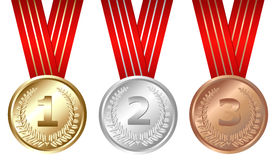 Three Medals. Vector. Golden, Silver, Bronze Medals, Isolated On White Stock Image