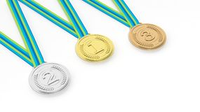 Three medals on white background Royalty Free Stock Photos