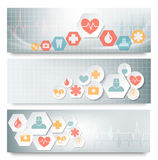 Three medical banners with icons. Royalty Free Stock Photos