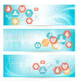 Three medical banners with icons. Royalty Free Stock Photography