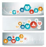 Three medical banners with icons. Royalty Free Stock Photo