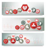 Three medical banners with icons. Stock Photos