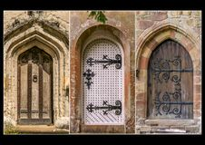 Three medieval doors in a triptych royalty free stock image