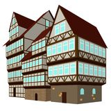 Three medieval houses in old town. Three medieval houses on the street, vector Royalty Free Stock Photography