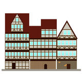 Three medieval houses on the street. Vector Stock Photography