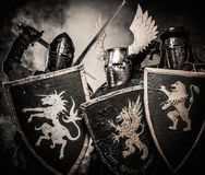 Three medieval knights Stock Photography