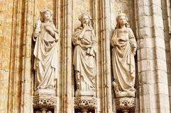 Three medieval statues of women Royalty Free Stock Photos