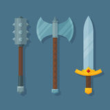 Medieval fantasy weapons flat illustration. Three medieval weapons. Mace, axe and sword Royalty Free Stock Photo
