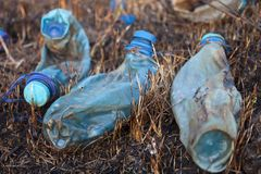 Three melted plastic bottles on the burnt grass Royalty Free Stock Photos