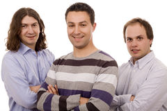 Three men. Three casual men white isolate Stock Image